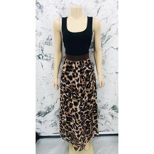 Susan Graver Leopard Print Sleeveless Maxi Dress